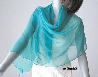 Aqua Blue Silk Chiffon Shawl Coverup, Turquoise Limpet Shell Scarf Wrap, Bridal Wedding Shawl, Petite S Medium, Artinsik