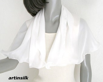 Small White Scarf, Natural White Neck Scarf, Silk Crepe Scarflette, One of a Kind, PETITE XS or S SMALL size, Girl Scarf, Artinsilk.