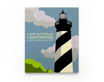 Cape Hatteras Lighthouse Art Block- North Carolina Lighthouse Art