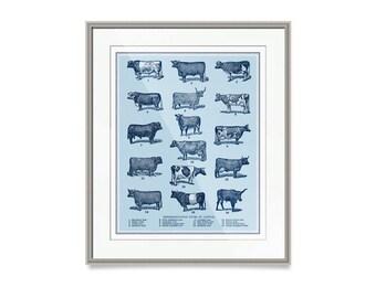 "Farmhouse Nursery- Modern Farmhouse Decor- Cattle Art Print- 30"" x 24"" Cow Decor- Kitchen Decor- Cattle Decor- Farm Decor"