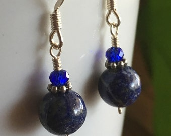 Lapis Lazuli and Crystal Earrings