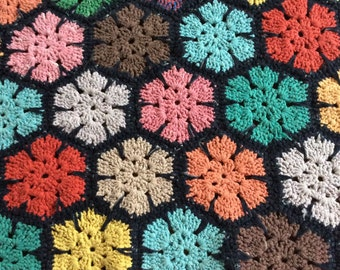 Rainbow of Colors,Vintage Crocheted Afghan,Colorful Cotton Throw,Warm Blanket,Vintage Handmade,Cabin Decor,Country Decor,Heavy Cotton
