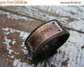 40% OFF FLASH SALE- Stamped Leather Cuff-Beloved-Word Cuff-Loved Collection-Valentines Gift