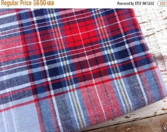 30% OFF SUPER SALE- Classic Plaid Fabric-Reclaimed Bed Linens-Cabin Look-Red and Blue