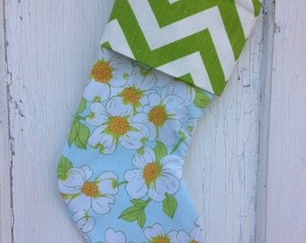 30% OFF SUPER SALE- Chevron Floral Stocking -Christmas Stocking-Upcycled Bed Linens