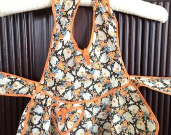 1950's Sweetest Child Apron Pinafore / Colorful / Orange Trim / Tie Back
