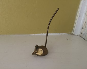 Brass Mouse Memo Stake Pick / Ring Holder / Collectible / Decor