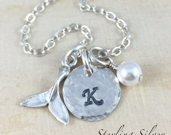 Sterling Silver Whale Tail Charm Necklace, Hand Stamped Initial Jewelry, Personalized Whale Charm Necklace, Whale Gift, Personalized Gift