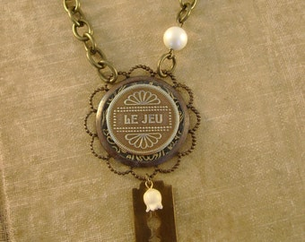"""The Player - Vintage French Canadian """"Le Jeu"""" Gaming Arcade Token, Razor Blade Pearls Recycled Repurposed Necklace"""
