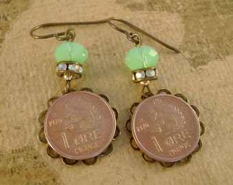 Squirrelly Girl - Vintage 1970 Norway Ore Squirrel Copper Coins Bezels Rhinestones Green Beads Niobium Wires Recycled Repurposed Earrings