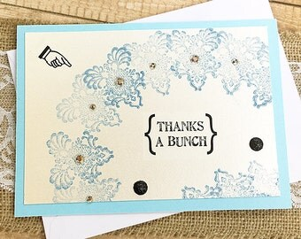 "Hey, Look! Thanks a Bunch! Thank You Card, Blue, Shimmer, Bling, Gratitude, Grateful, Friend, Appreciation, Rhinestones, Sparkle - 7"" x 5"""