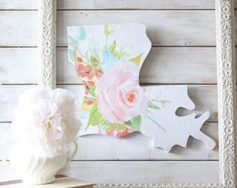 Louisiana Home Sign. Wood Sign. Louisiana. Louisiana Decor. Louisiana Sign. housewarming gift.  Watercolor florals. Floral Art. Gift for her