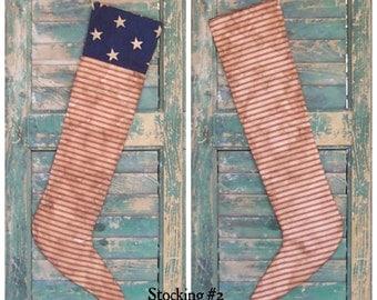 American Flag Stocking, Primitive Stocking, Americana Christmas Stocking Patriotic Stocking Ticking Stocking Mantle Decor