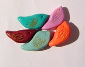 Bevy of Birds Polymer Clay Bead Set 5 Different Bird Beads Set Two