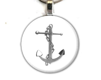 Art Button Pendant Keychain Anchor Nautical beach coastal charm button swivel lobster hook unique finds