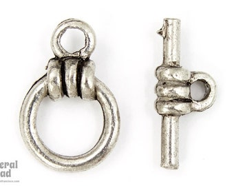 9mm Antique Silver Wrapped Pewter Toggle Clasp (2 Sets) #CLB113