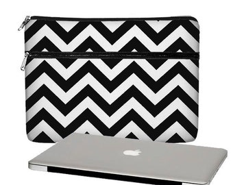 SALE MacBook Case, 13 MacBook Pro Case, 13 MacBook Air Case, MacBook Pro Retina 13 inch laptop sleeve, zipper , chevron black  RTS