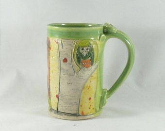 Best Ceramic Coffee Mug with Owl, Pottery Cup, Tea Mug, Clay Large Mug, Travel Mug, Unique Coffee Mug, Tankard, Beer Stein, Dinnerware 430