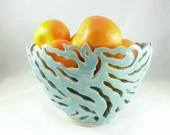 Hand Carved Goddess Bowl, Fruit Bowl, Fruit Basket, Face Bowl, fall wedding something blue ceramic vessel, candleholder,