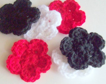 Crochet Flower Applique, Flower Embellishment, Red Flower, Black Flower, White Flower, Scrapbooking, Crochet Flower Motif, Set of 6