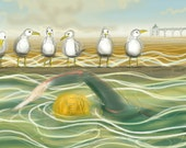 greetings card: seagulls and a swimmer, swimming in a wetsuit, 'Clevedon Marine Lake'