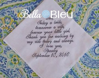 Wedding Hankie,  Mom Dad Wedding Handkerchief, Custom Wedding Handkerchief, Custom Wedding Dad Mom Name Date Hankie,