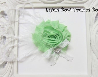 Spring Green {Ellie} Flower Hair Clip, flower clip, shabby flower, green flower, more colors available