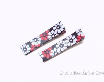Black with Red and White  Hair Clips, no slip clips, baby girl clips, toddler clips