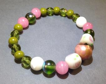 Pink & Green Glass Bracelet - Child Bracelet - Stretch Bracelet - Statement Bracelet - Wrap Bracelet - Boho Chic - Hippie Jewelry