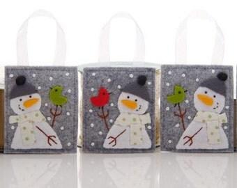 Felt Ornament Set, 5 Snowman Ornaments, Handmade Christmas Tree or Package Decorations, Advent Calendar Gifts, Felt Bird Ornaments