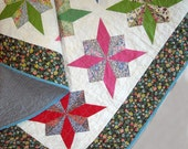 Patchwork Lap Quilt - Liberty of London Tana Lawn Stars - Throw Quilt - Handmade - Vintage Look