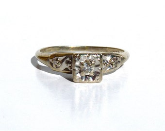 Vintage 14k White Gold Diamond Ring Art Deco 1920s Engagement Old European Cut Size 6.5