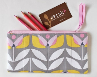 Zipper pouch retro floral yellow and pink flowers on gray grey tulip pencil case makeup bag pastel padded pouch