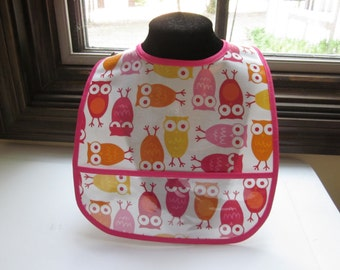 WATERPROOF WIPEABLE Baby to Toddler Wipeable Plastic Coated Bib Owls Hot Pink and Orange