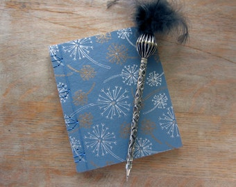 Softcover Small Sketchbook or Journal, 6x5 inches, Blue Dandelion, unlined pages, Ready to Ship