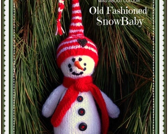 Knit SNoWMaN Stuffed Toy NeWBoRN PHoTO PRoP Snow Baby Stuffie w Hat HoLiDaY GiFT Kid Toddler Soft Toy CHRiSTMaS Decor Ornament HEiRLOOM GiFT