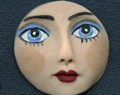 "Polymer Clay Detailed  Blue Eyed  Face Cab 1 1/2""  NBLF 1"
