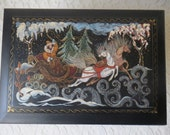 Vintage Hand Painted Wood Treasure Box Russian Folktale Fairytale Horses & Sleigh, Gold Accents