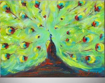 PEACOCK Art ORIGINAL Oil Painting Modern Abstract Art 16x12 by BenWill