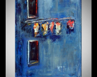 Abstract Art ORIGINAL Oil Painting Large Modern Expressionist Fine Art Colorful Abstract WINDOWS 24x18 by BenWill