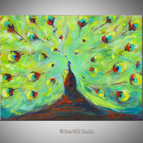 PEACOCK Art ORIGINAL Oil Painting Modern Abstract Art 16x12 by BenWill