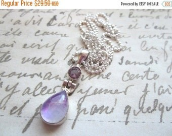 25% SALE Pink Moonstone and Amethyst Pendant Necklace.  18 Inch Sterling Silver Ball Chain.  Bezel Set Pendant.