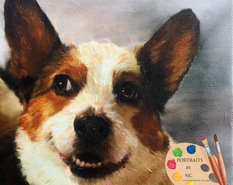 Corgi Portrait - Corgi Custom Dog Portrait - Corgi Painting from your Photo - Portraits by NC