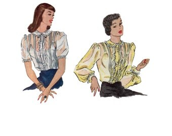40s Sheer Blouse pattern Ruffle Blouse vintage pattern 32-26.5-35 XS Fitted Blouse Old Hollywood Blouse mccalls 1405 mccall 1405