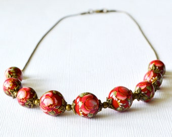 Red Rose Japanese Tensha Graduated Antiqued Brace Beaded Necklace