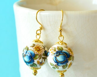 Navy Blue Rose and White Floral Japanese Tensha Beaded Gold Earrings