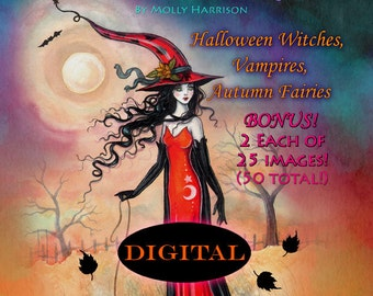 SALE Printable Digital Download - Autumn Fantasy Coloring  Book by Molly Harrison - Witches, Vampires, Fall Fairies