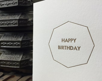 Letterpress Octagon Happy Birthday Card - Set of 4