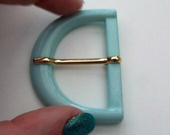 Vintage Mint Blue/Green 60s Plastic Belt Buckle  - Large half circle