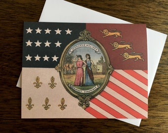 Vintage Detroit City Flag Illustration - Greeting Card  - Blank Inside
